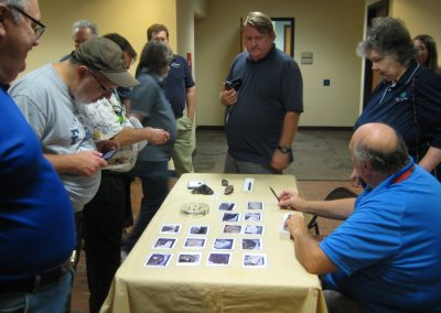 10/14/16 NEFAS club meeting - Dr. Mike Reynolds showing moon rocks in the lobby at FSCJ Kent.